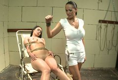 Lovely brunette with big tits gets punsihed in tough BDSM way