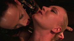 Busty blonde nymph gets her pussy fingered hard in hot BDSM sex video