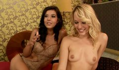 Blond nympho teaches spoiled brunette lesbian LOU CHARMELLE to finger pussy