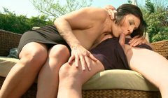 Curvy brunette mom gets her asshole rimed by kinky dad
