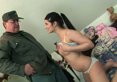Jaw-dropping brunette bombshell gets her pussy licked by an old man