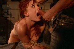 Red-haired nympho gets her mouth fucked hard by wicked dude