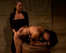 Curvy brunette hussy gets her juicy ass slapped by insatiable domina