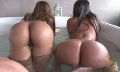 Big bottomed brunette babes wags asses in jacuzzi