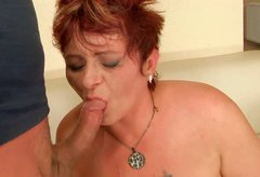 Skanky red-haired BBW gets her puffy slit nailed hard in doggy pose