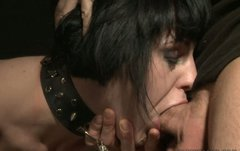 Buxom slut Johanne gives hot blowjob to her horny friend