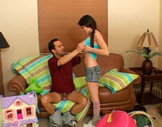 Playful skinny brunette teen gets her muf dived by rapacious daddy