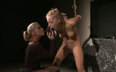 Blond haired submisive chick KATHIA gets tied up and pleased with a dildo