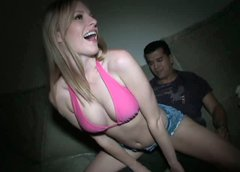 Pale skinned college student is sucking cock at the party