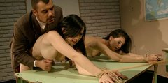 Dominant spoiled dudes smack the rounded asses of tied up brunettes