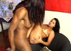 Strong black shemale Suzanna fucks brunette Ju's cunt missionary tough