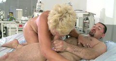 Ugly as hell blond oldie rides and sucks a strong dick in the hospital