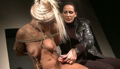Pale slim blondie called NIKKY THORNE gets involved in bondage session