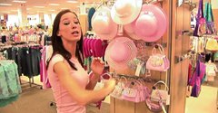 Kinky amateur brunette Brooke Skye wanders in the mall and rubs her clit