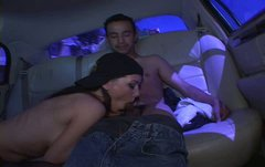 Spoiled brunette in stockings Alisha gets busy with sucking a dick in car