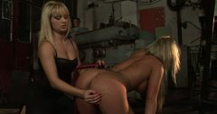Tanned tied up slender blondie gets her pussy tickled by spoiled dyke