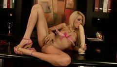 Sexy long legged blondie BLANCHE goes solo and drills slit with a huge dildo