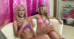 Wondrous naked blondies Anna Nova & McKenzee Miles give a rimjob (FFM)