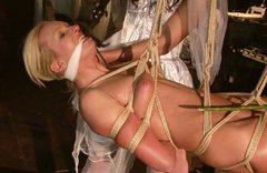 Extremely horny blonde Angela is punished for being a slut
