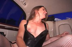 Naughty whore Angie sucking and riding hard cock on a back seat
