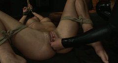 Vulnerable busty blondie is tied up and gets her pussy fisted by brunette