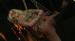 Flexible buxom and sexy blondie has to know what bondage is about