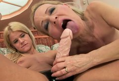 Charming blond haired dykes eat each other's wet juicy pussies for joy