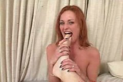 Red haired bitch Donna Marie sucks feet and licks ass hole of her boyfriend