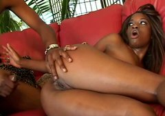 Juicy ebony chick Monique gets her black pussy drilled