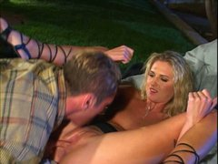 Beautiful blonde enjoys tongue job by one horny stud