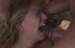 Whorish blond chic is forced to give deepthroat in BDSM-styled sex scene