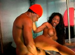 Sextractive ebony babe Lori Alexia fucking passionately in a steamy porn video