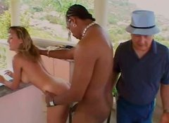 Chesty blonde Julie Faith gets her anus fucked by black dude