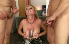 Voracious blonde nympho gets her anus fucked hard in threesome
