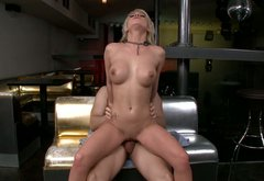 Juggy blond whore rides aroused wanker in reverse cowgirl style