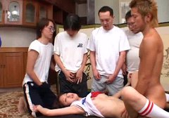 Busty Japanese amateur gets her bushy cunt banged missionary in gangbang