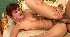 Fugly brunette MILF hops on hard cock reverse cowgirl