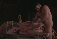 Ruined blond chic gets fucked while lying on barrel bandaged in BDSM sex scene
