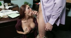Awesome office gal Jasmine Caro sucks Preston Parker's tasty lollicock