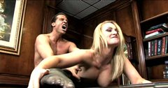 Sextractive blonde in torn pantyhose gets her pussy drilled on the boss table