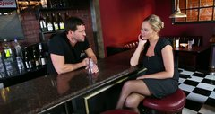 Drunk kinky busty Katie Kox provides barman Preston Parker with a blowjob
