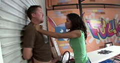Horny Carmella Santiago stands on her knees to give hand job