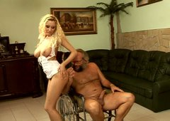 Wondrously seductive blonde nurse fucks old grandpa