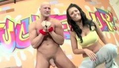 Professional whore Eva Angelina jerks off dick of one bald headed dude
