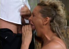 Sophisticated blond whore gives head to massive cock in fun sex scene