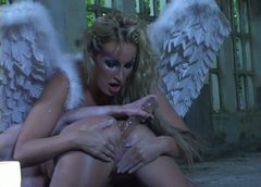 Randy blonde bitch in angel costume is ass fucking her lover with big dildo