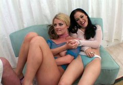 Slutty chicks Sophie and Crystal take part in threesome