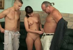 Dirty brunette whore is piss drinking in dirty MMF threesome