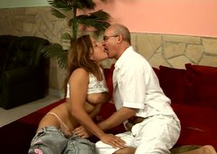 Perverted bald headed man in glasses licks and tickles gal's wet juicy pussy