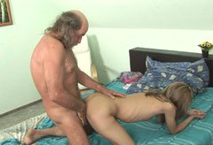 Rapacious dad sticks his tool inside soaking pussy of tasty bitch for fuck in doggy style